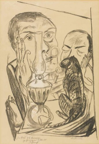 Max Beckmann, Self portrait with cat and lamp