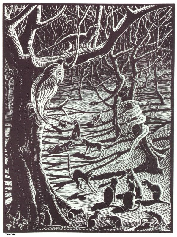 Scholastica-Full-Moon-spooky-forest-with-black-cats-woodcut-1931-M.-C.-Escher-2