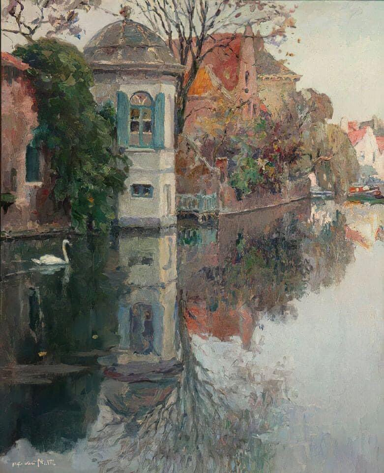 Canale a Bruges by Alfred Joseph Auguste Van Neste (1874-1969)