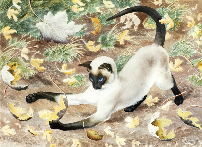 Cat playing, Charles Frederick Tunnicliffe
