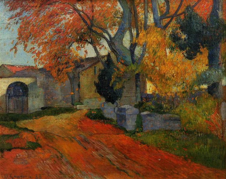 Lane at alchamps, Arles, Paul Gaugin, 1888