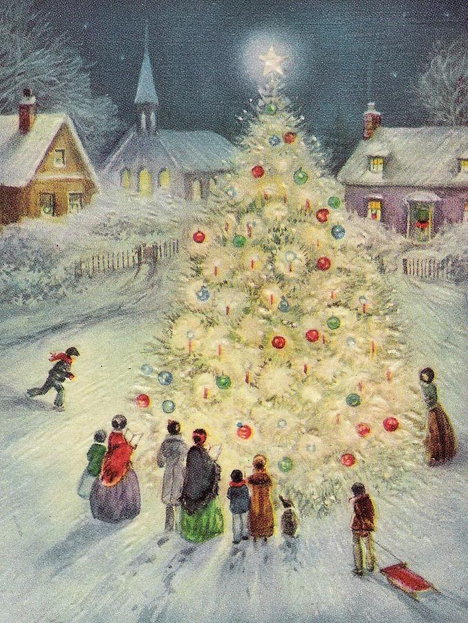 christmas-illustration-900-vintage-christmas-cards-decorated-christmas-tree-tuscan-afternoon