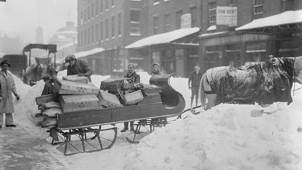 Circa 1910s. Horse-drawn sleigh for hauling goods, market district. Image courtesy of the Boston Public Library, Leslie Jones Collection