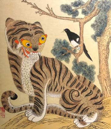 Korean folk art - Magpie and Tiger