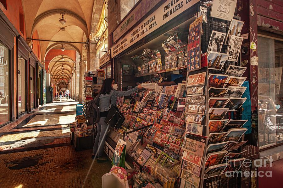 Newspaper Kiosk in Bologna, Italy, photo by Fillippo Carlot