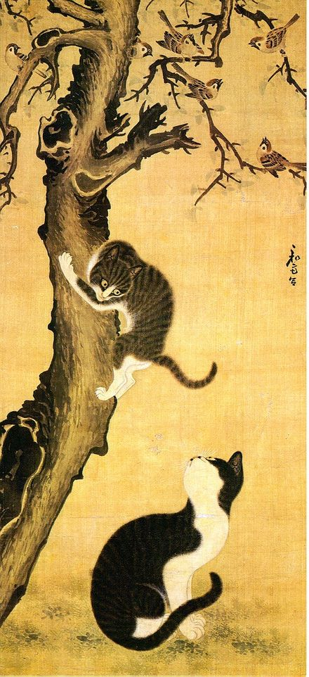 Painting of Cats and Sparrows, drawn by Byeon Sang-bteij during the late period of Korean Joseon Dynasty, 1392-1910