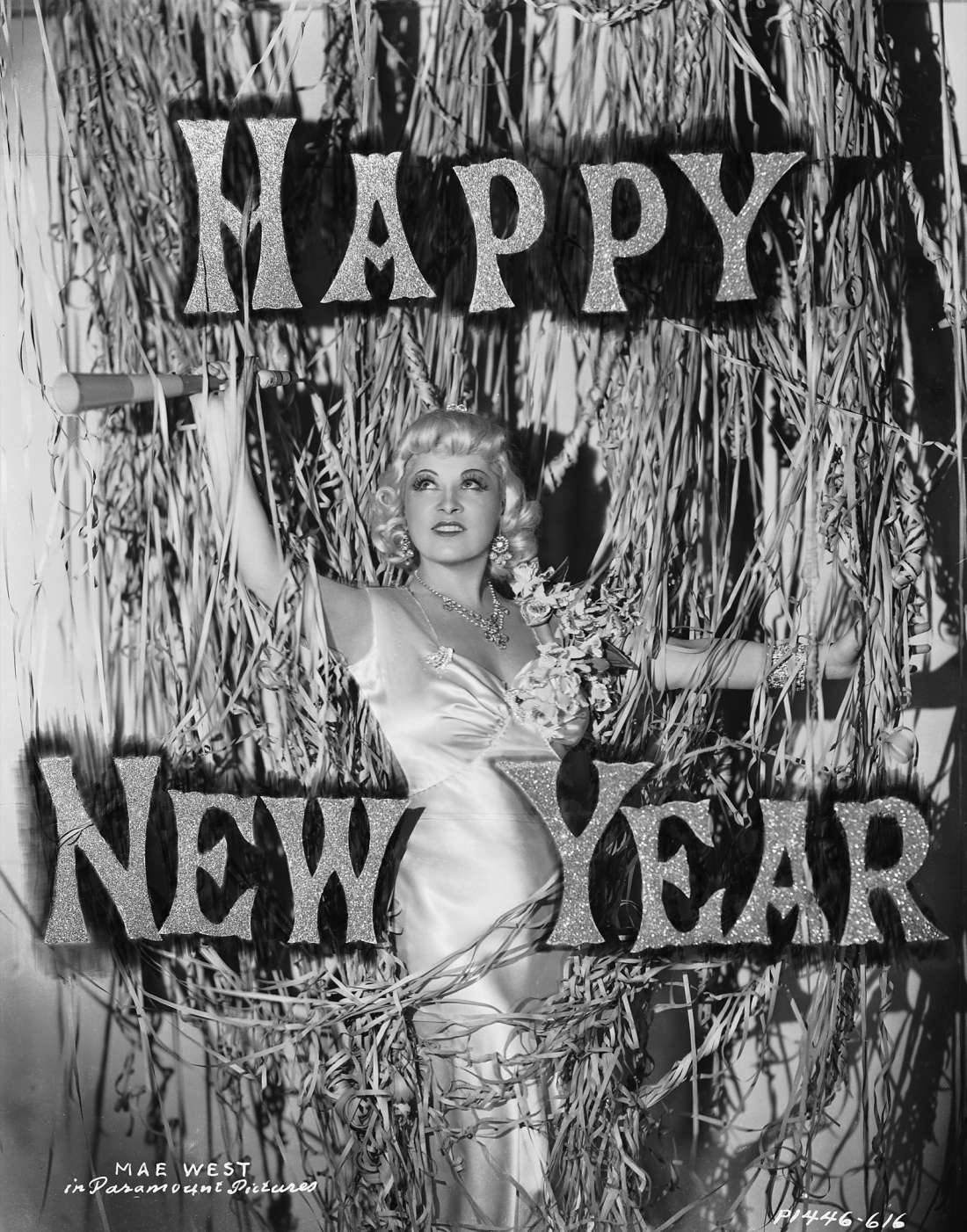 Seasonal greetings from the original Hollywood sex symbol, Mae West, 1936.