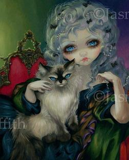 Princess with a ragdoll cat, Jasmine Ann Becket-Griffith