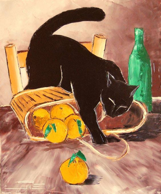 Return from Market with Black Cat by Atelier de Jiel