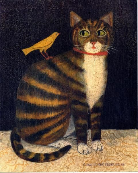 Tiger Cat with Bird, American Folk Art Painting by Diane Ulmer Pedersen