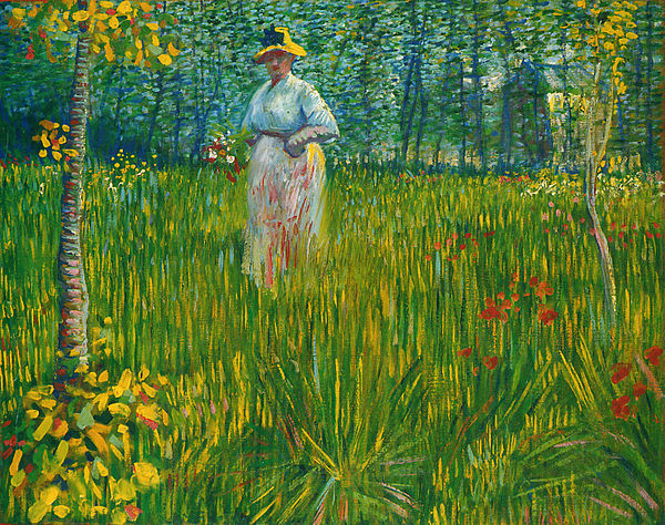 A Woman Walking in a Garden 1887