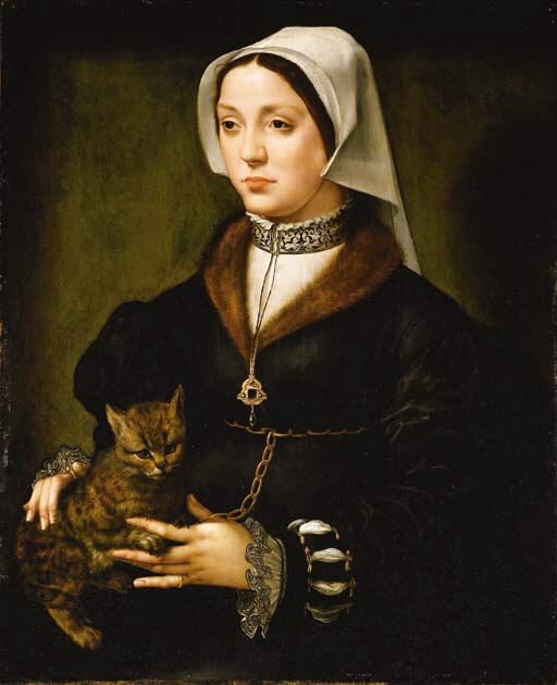 Ambrosius Benson, Portrait of a Woman and cat