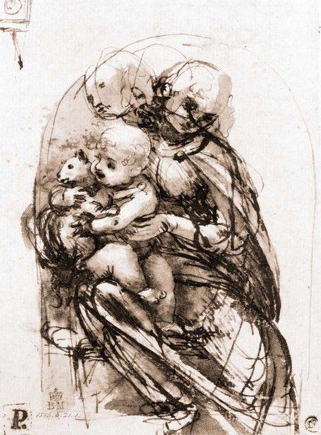 Studies for Madonna with a cat, Leonardo Da Vinci