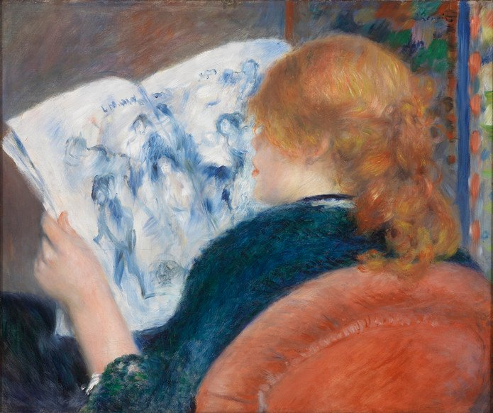 Young Woman Reading an Illustrated Journal, Pierre-Auguste Renoir, c. 1880