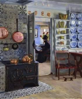 Adolf Heinrich-Hansen, Interior Kitchen Scene With A Woman Reading The Paper, 1918