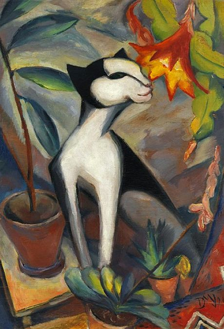 Cat with Cactus Flower', 1921 - Dorothea Maetzel-Johannsen