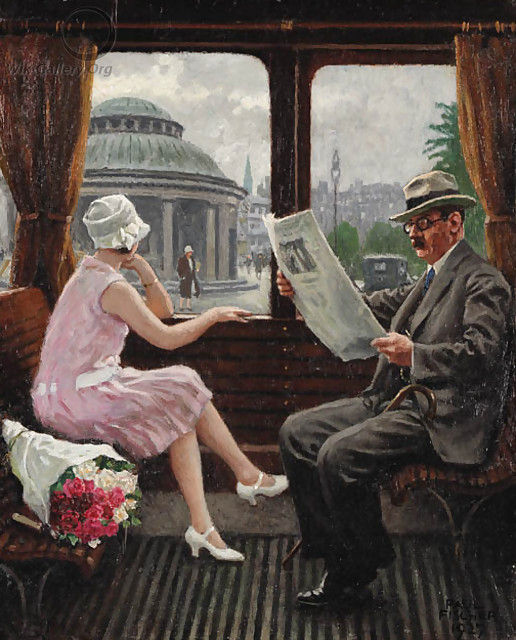 In the Train Compartment, Paul Gustave Fischer