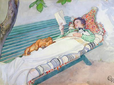 Woman Lying on a Bench, Carl Larsson, 1913