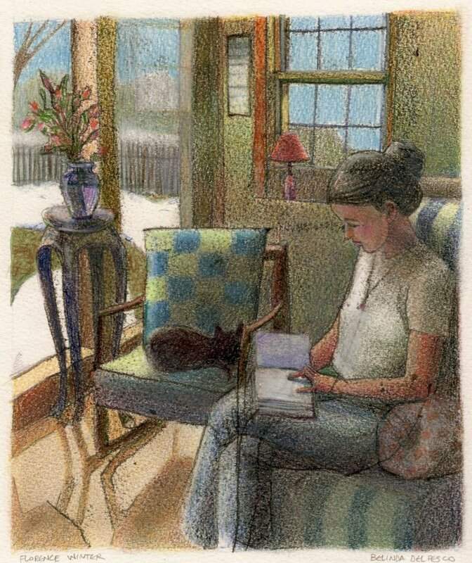 Woman reading with a cat on a snowy day