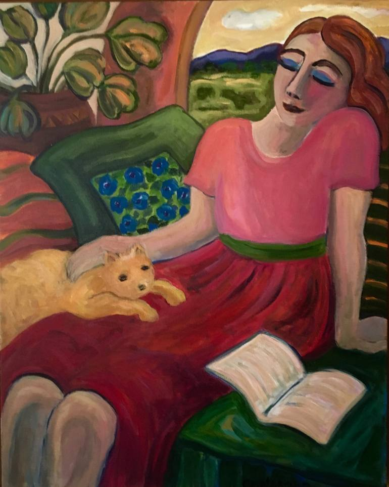 Woman Reading with Cat, Carol Keiser