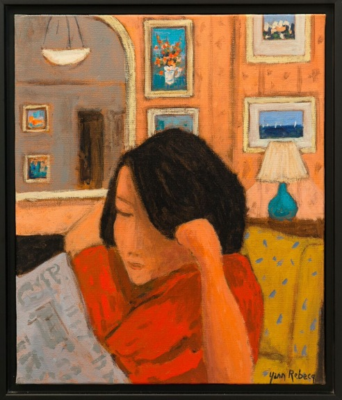 Young Lady Reading the Newspaper at Home in the Evening
