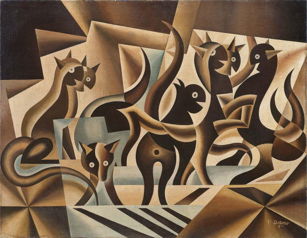 Fortunato Depero, Elasticità di gatti (1936–1939)