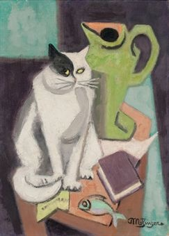 Jean-Metzinger-Still-life-with-cat-and-fish-1950.
