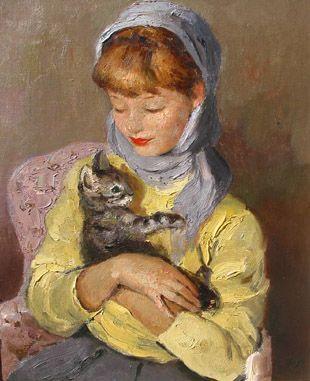 Marcel Dyf Jeune Fille Avec Chaton The Kitten
