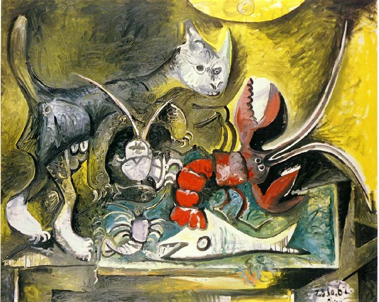 Still life with cat and lobster, Pablo Picasso