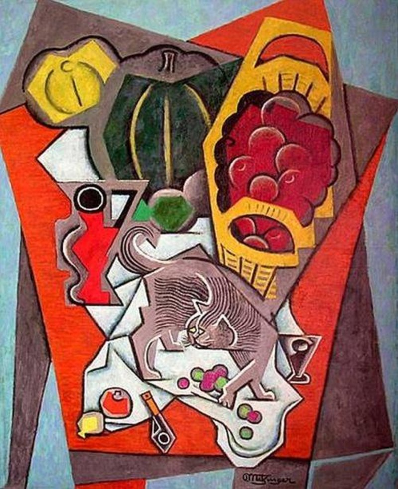 Still life with grey cat, Jean Metzinger