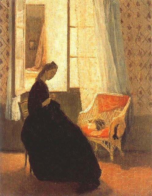 Gwen John (British painter, 1876-1939) Interior with Woman Sewing at Window and Cat