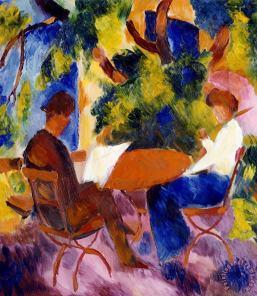 At the garden table, Auguste Macke