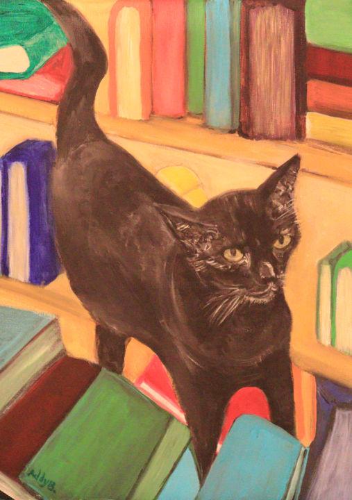 Cat on books by Addy Balajadia