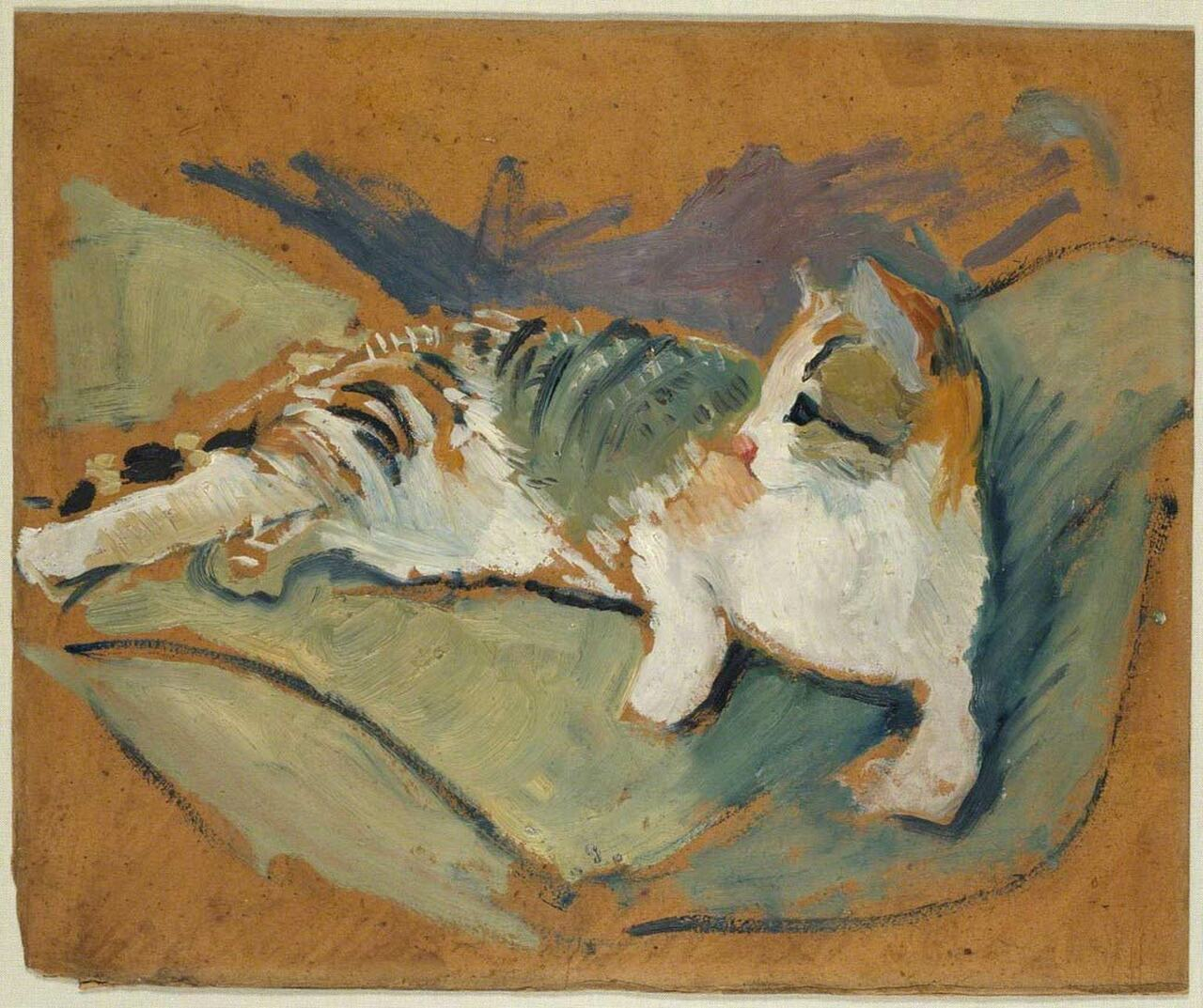 Cat on Green Pilllow, August Mackee