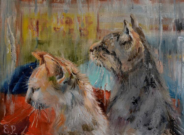 Cats. Rain. by Elena Reutova, 2020