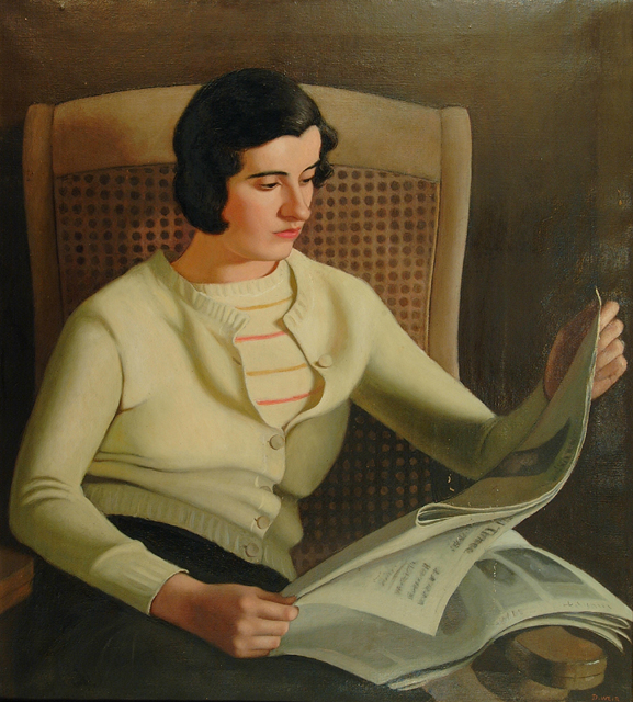 """Dorothy Weir Young, """"Seated Girl Reading Newspaper,"""" 1930"""
