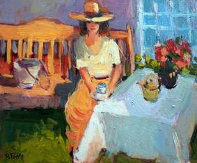 Drinking tea in the garden by Edit B. Toth