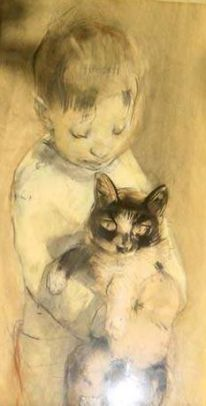 Han van Meegeren - His son Jacques with cat 1916