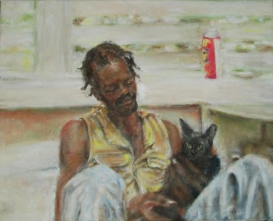 Man with Cat, Candace Hunt