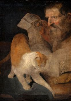 Mann mit Katze. Christoph Paudiss 1618 Private Collection