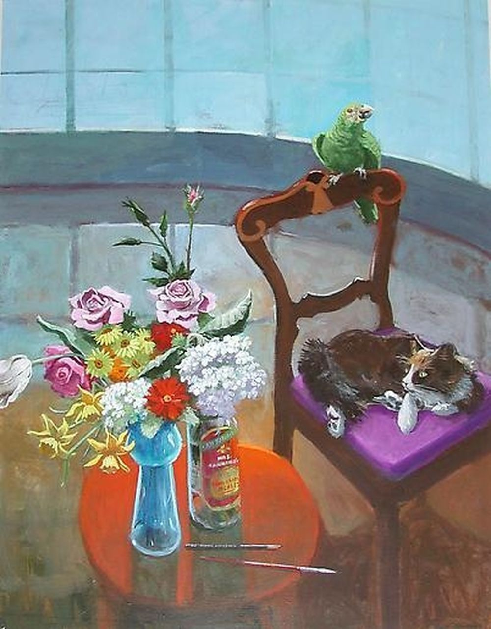 Room with Curved Window Cat and Bird, Paul Wonner