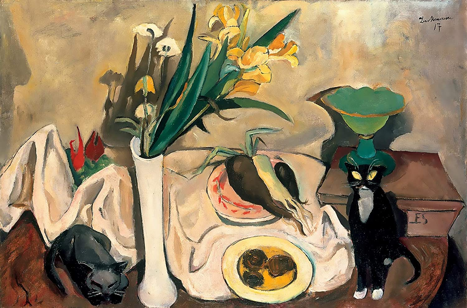 Still Life with Cats, by Max Beckman
