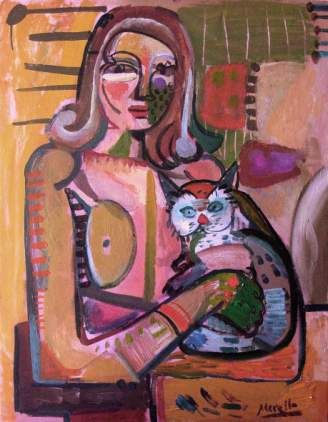 Woman with Cat, Jose Manuel Merello, 1960