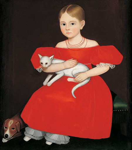 Girl in the red dress with cat and dog, by Ammi Phillips, 1788-1865