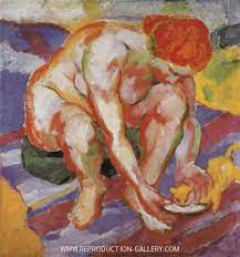 Nude wiht cat, 1910 by Franz Marc