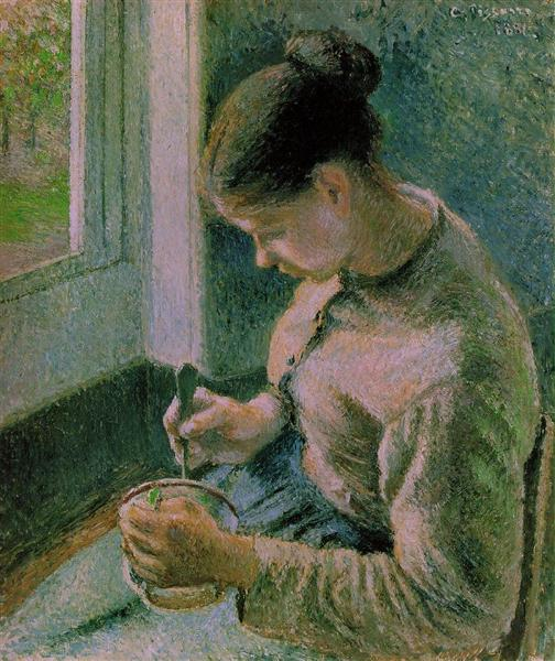 Peasant Girl drinking her coffee, Camille Pissarro
