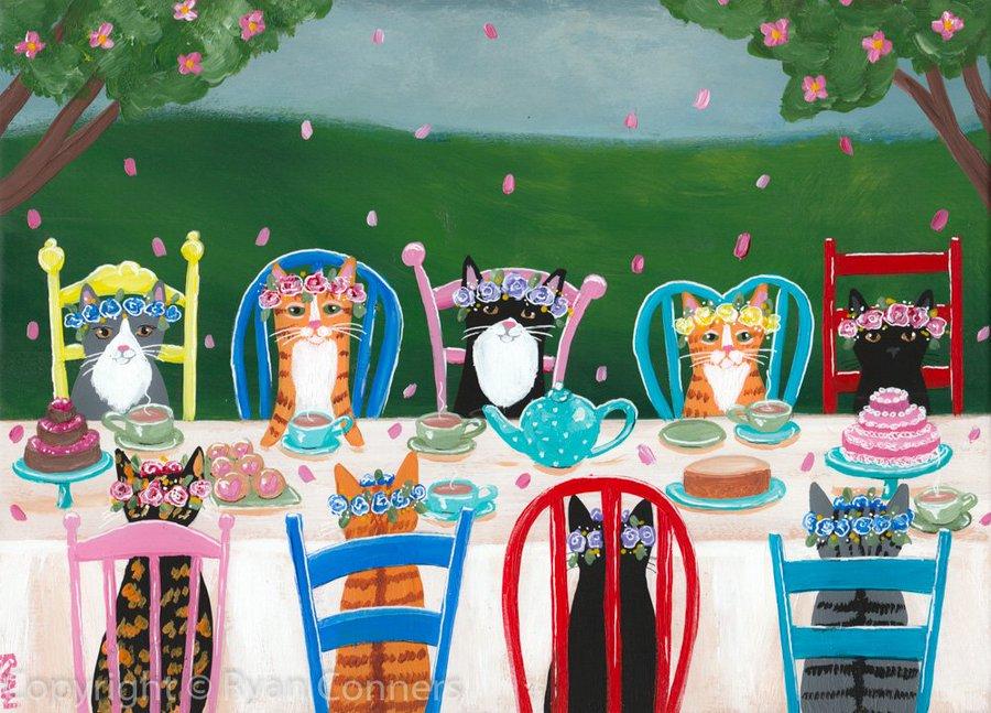 Springtime tea party by KilkennyCatArt