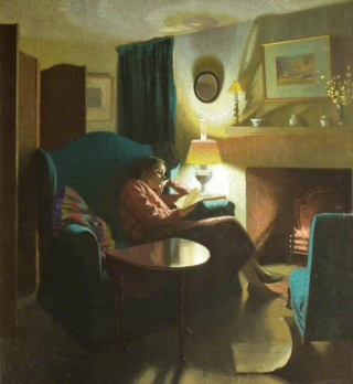 'The Artist's Wife, Evelyn, Seated, Reading, Gerald Gardiner, 1935