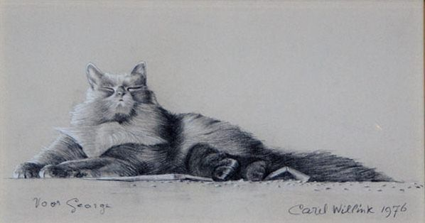 Carel Willink, Crayon drawing of a cat with attitude, 1976