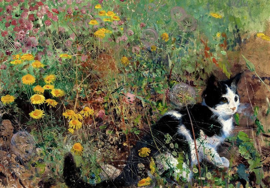 Cat on a flowery Meadow, Bruno Liljefors